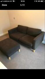 2 seater couch and foot stool for sale
