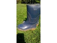 Size 1 welly boots - dark blue, suit girl or boy