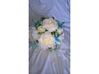 Bridesmaid Posy and Wand Ivory Peony/Turquoise