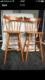 Solid oak bar/breakfast stools brand new