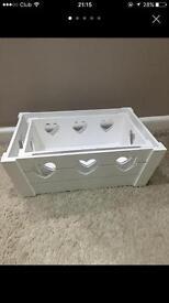 Vintage white wooden storage boxes