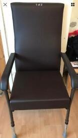 Disability adjustable legged arm chair