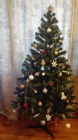 Christmas tree, garland, decorations
