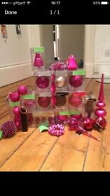 30 Mixed pink Christmas decorations