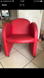 Small red chairs