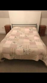 Metal double bed frame and orthopaedic mattress