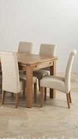 Four Brand New Oak Furniture Land high back beige dining chairs