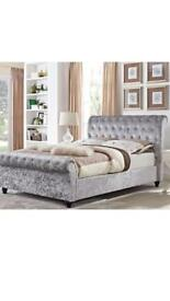 Brand new free delivery factory clearance Luxury sleigh bed crushed velvet silver LOOK👀