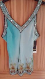 Aftershock designer silk embroidery blue party unusual top new with tags size s-m, £25