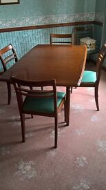 Teak veneer dining table with 6 chairs, Dining cabinet and nest of tables