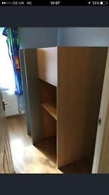 Bed with wardrobe desk and drawers