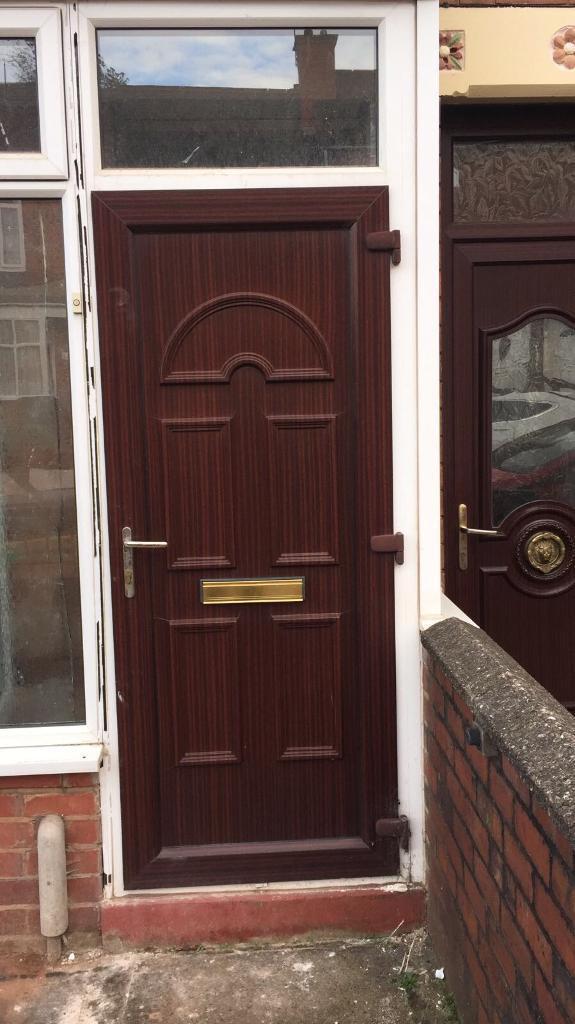Woodgrain Effect Brown UPVC Exterior Door And Frame