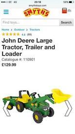 Large John deer tractor trailer ride on