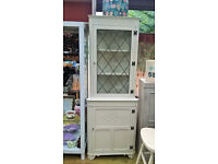Corner oak display unit shabby chic old charm - newly refurbished