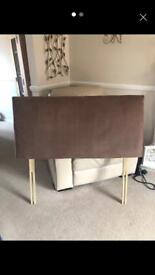 Brown swede headboard for Small double bed