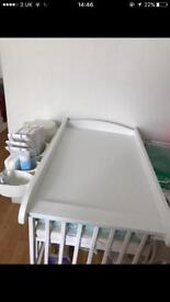 Hardly used wooden white baby top cot changing table