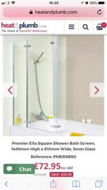 Premier Ella left/right hand hinged L-shape glass shower bath screen