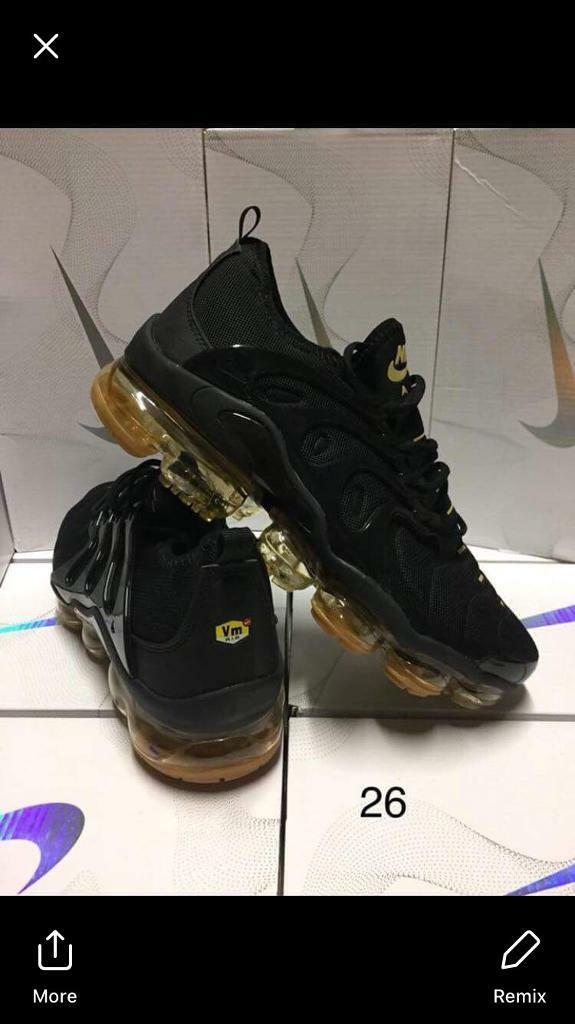 db31e6dbf0c Nike vm Tn vapormax Plus vms tns New In Box all black on gold AirMax Plus
