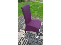 A New Bentley Designs Plum Fabric and Walnut Dining Chair