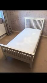 Wooden bed, off-white, plus memory/foam mattress