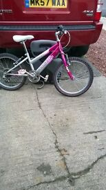 girls pink raliegh 6 speed bike good condition