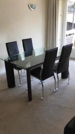 Glass top table & chairs set