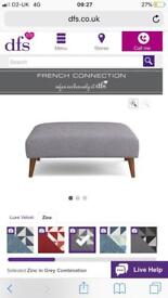 DFS French Connection Zinc Grey Plain Large Footstool