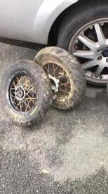 """10"""" Pitbike Wheels SuperMoto. Slobe Racing Tyres. Now been Referbed! £30 No less."""