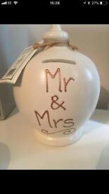 Mr and Mrs cream terramundi pot
