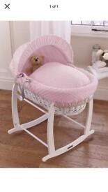 Baby pink Moses basket with rocking stand