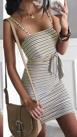 Backless bodycon stripy dress size 8