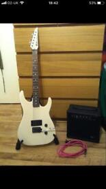 Hohner Marlin guitar, stand and amp.