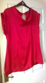 red silk top size 16