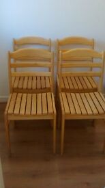 SET OF 4 SLATTED LADDER BACK CHAIRS