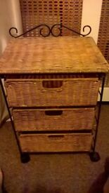 2 x Wicker and wrought iron style bedside tables £25 the pair