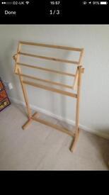 Free standing wooden towel rail