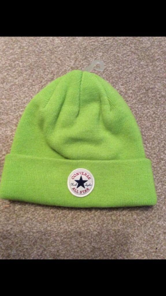 Official Womens mens Converse All Star winter Lime Green knit Beanie Hat. 9aed689eff98
