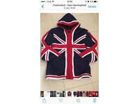 Knitted extra warm hooded Union Jack jacket