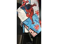 Spider man curtains and curtain pole