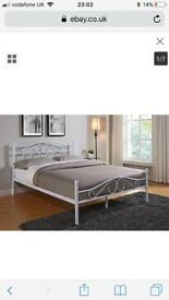 White Double Metal Bedframe