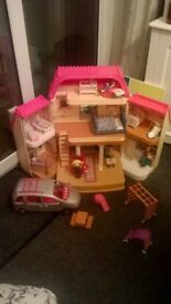 Loving Family dolls house, car and family