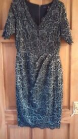 LADIES BLACK & GREY FULLY LINED DRESS SIZE 10 BY TWIGGY FOR M & S BRAND NEW