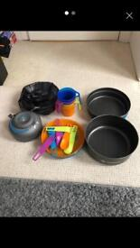Camping cooking set and utensils