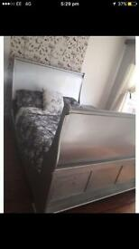 King size sleigh bed frame in silver