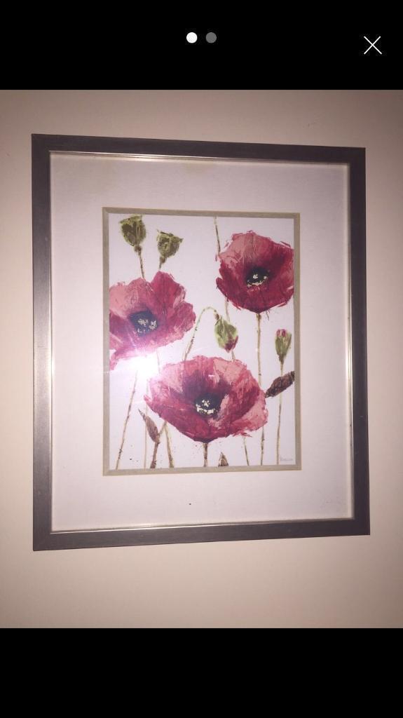 2 poppy framed paintings
