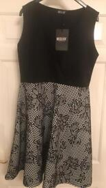 Black and white Party / occasion dress size 16