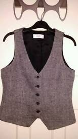 Herringbone Style Grey Waistcoat