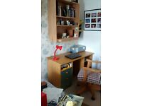 Double bed, double mirrored wardrobe, large and small drawers, desk and shelving unit job lot.