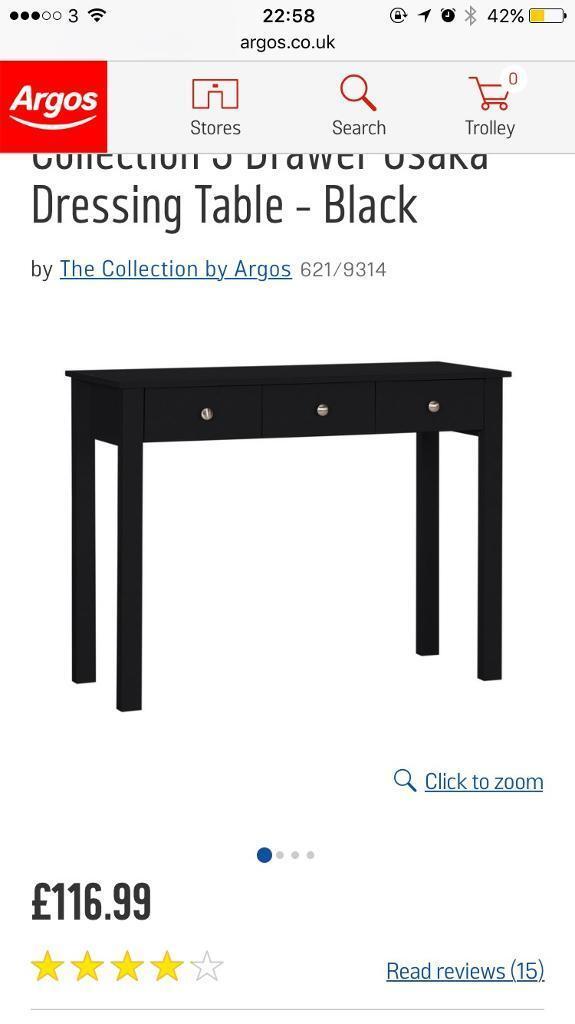Argos Black Dressing Table, RRP £116.99