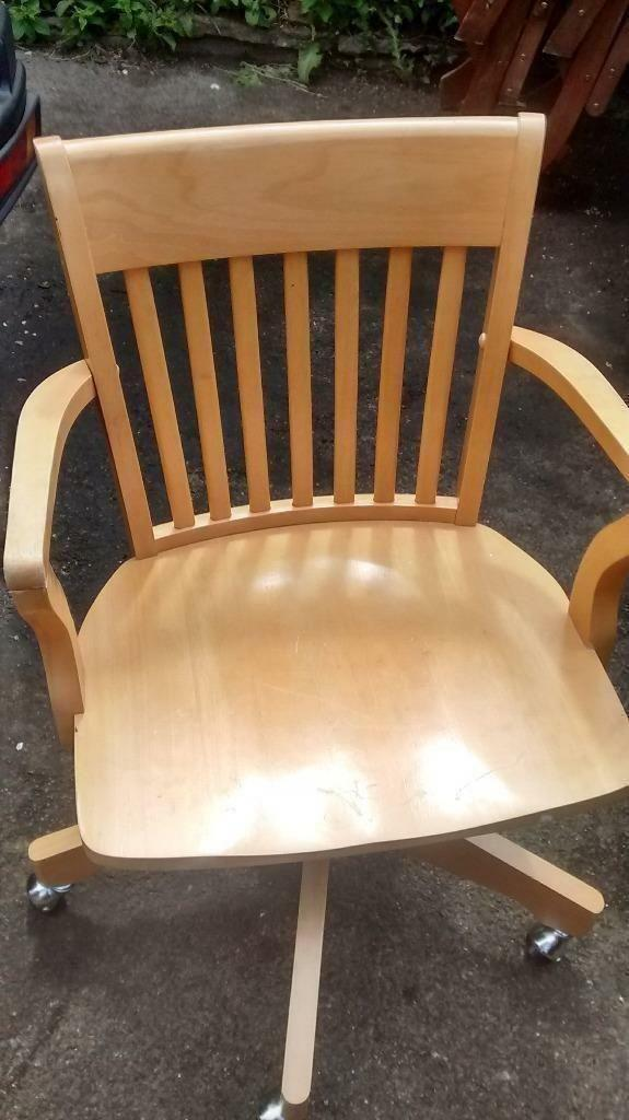 Captains Swivel Carver Office Chair Solid Wood In Very